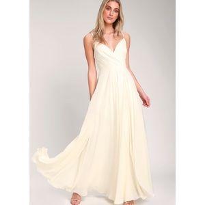 Lulu's All About Love Surplice Maxi Dress Cream M